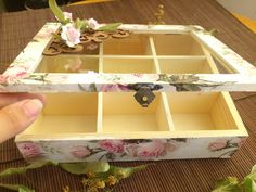 Elegant Tea Box With Pink Roses Decoupage Decoration Wooden Ornament Glass Lid…