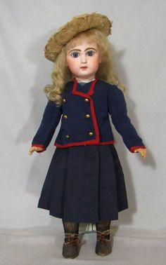 "Due to a failed layaway, this great doll is now available. This 22"""" Tete Jumeau Bebe has beautiful perfect bisque. Her original body is marked with the Jumeau stamp. She is fully dressed in ALL antiq"