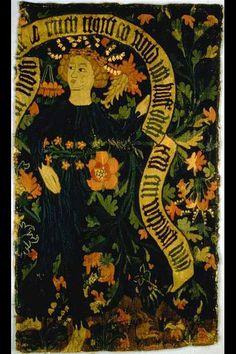 Bildteppich. Wilde Frau mit Maiglöckchenkranz. Basel. Um 1480. Masse: Höhe 79 cm, Breite 47 cm.