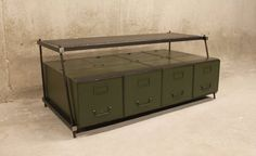 TV Stand Vintage Large File Drawers with ReBar Legs and Mesh Upper Shelf