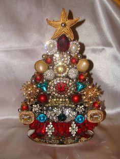 Vintage Old Costume Rhinestone Jewelry Jeweled Art Christmas Tree Picture Decor | eBay