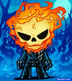 How to Draw Chibi Ghost Rider, Step by Step, Chibis, Draw Chibi . Cute Cartoon Drawings, Cartoon Cartoon, Chibi Characters, Marvel Characters, Ghost Rider, Chibi Marvel, Marvel Comics, Seven Deadly Sins Anime, Marvel Entertainment