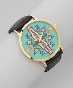 Black & Turquoise Tribal Leather-Band Watch