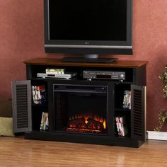 Antebellum Black Media Electric Fireplace