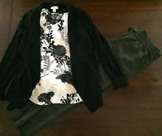 Soft Pant in Olive Green - The Loft. Floral Top in Black/Cream - Ann Taylor. Open Front Cardigan in Black - The Loft.