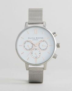 Olivia Burton Silver Chrono Detail Mesh Watch