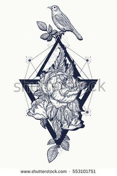 Birds and rose, tattoo and t-shirt design boho art. Beautiful flowers in geometrical style, tattoo for women