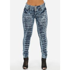 High Rise Extremely Ripped Butt Lifting Skinny Jeans (Acid Wash) ($30) ❤ liked on Polyvore featuring jeans, distressed jeans, destroyed jeans, high waisted skinny jeans, skinny jeans and acid wash jeans