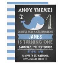 This boy's chalkboard whale and anchor 1st birthday party invitation features a cute whale wearing a sailor's cap and an anchor on a scanned chalkboard background. I have also used a chalkboard style font for the heading and various text throughout the design. I've used a single color and white for this design and added a striped pattern on the back of the invitation. If you'd like this design for a different age, please contact me for a new template. This invitation and is ...