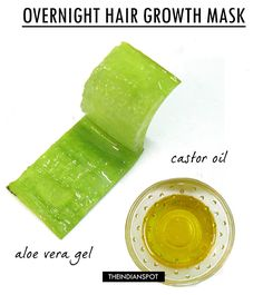 DEEP CONDITIONING OVERNIGHT HAIR MASK: Mix equal quantity of 1tbsp of aloe vera gel and 2 tbsp of castor oil, apply from root to tip. Place a shower cap over hair and sleep the night through. Shower in the morning for healthy, and shiny hair.