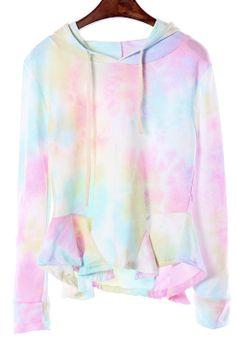 13264ed946610b Multi Tie-Dyeing Hooded Sweatershirt With Falbala