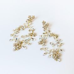 Boho gold earrings vine gold boho earrings Gold Crystal Boho | Etsy Pearl Earrings Wedding, Bridal Earrings, Boho Earrings, Bridal Comb, Bridal Headpieces, Crystal Wedding, Boho Wedding, Creative Wedding Inspiration, Drop Veil