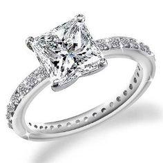 princess cut Engagement Rings   20 Ct Princess Cut Diamond Pave setting Engagement Ring 14k Gold by ...