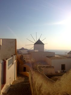 santorini, the view, windmill, sunset