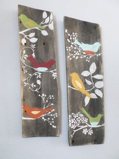 2 Relaimed Upcycled Country Custom Order Birds Rustic Shabby Chic Wall Decor Sign Wood on Etsy, $44.00: