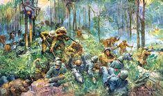 Printable Wall Art - 1919 World War 1 Belleau Wood Battle Frank Schoonover Painting Digital Prin Military Diorama, Military Art, Military History, Battle Of Belleau Wood, Marine Corps History, Ww1 Art, Ww1 History, Military Drawings, Ww2 Pictures