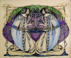 Rennie Mackintosh women - glass painting #Historia #Arte #Design Charles Rennie Mackintosh @Qomomolo