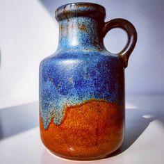 Blue&Brown Scheurich 414-16  #blue #brown #414 #scheurich #vase #flowers #midcentury #modern #wgp #westgermanpottery #vintage #modern #midcentury #moderndesign #retro #70s #pottery #ceramic #handled #fatlava #german #germany