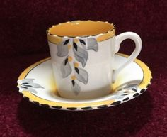 Antique-Burleigh-Ware-Coffee-Cup-And-Saucer Coffee Cups And Saucers, Cup And Saucer, Tea Cups, Vintage China, Green And Orange, Pattern Art, Pots, Art Deco, Bouquet