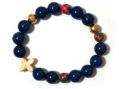 Howlite Sideway Cross Stretch Elastic Bracelet with malachite, Lapis Blue howlite, gold plated ball