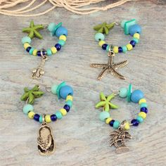 Green Starfish Wine Charms, Lime Green, Cobalt & Turquoise Wine Charms, Seashell Wine Charms, Tropical Wine Charms, set of 4. by TropicalTLC on Etsy