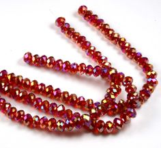 36PCs 8X5mm Rondelle AB Cherry Red  Faceted by BeadsintheSea
