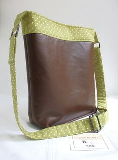 CROSSBODY Handbag in Green Polka Dot Accent Fabric with Brown Faux Leather . . . $65 . . . by SEWING the ABCs on Etsy . . . Clean Modern yet Classic Look . . . #MothersDay #Crossbodybag #BrownCrossbodyBag #GreenCrossbodyBag #SEWINGtheABCs #BrownHandbag #GreenPolkaDot