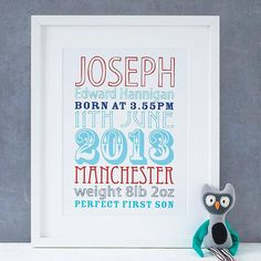 This personalised baby print perfectly captures those special details of birth in a quality print. £28.00