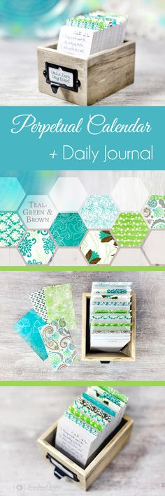 Teal, Green, and Brown Daily Calendar Box, Colorful Daily Journal in Rustic Wood Box, Grey and Blue Perpetual Calendar
