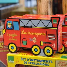 Puzzled about what to give your favorite boy for an upcoming birthday? This set of 3 wooden puzzles by Vilac is a winner.  Each 5-piece puzzle (fire engine, airplane and ship) is sure to delight! Sold at The Children's Hour Bookstore in Salt Lake City.  898 South 900 East.  801.359.4150.  #thechildrenshour