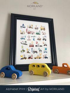 Preschool learning activities, Car themed room, Alphabet print, Toddler room decor, ABC poster, Printable Alphabet #preschool #homeschool #ABC #alpahbet