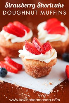 These are like little bites of HEAVEN. A muffin that tastes like a doughnut, dipped in brown butter and rolled in cinnamon sugar for a sweet, crunchy crust. Then topped with buttercream frosting and fresh cut strawberries. Amazing.