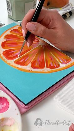 Fruit Gouache Painting Designing - Illustration - Painting the orange with gouache - Fruit Painting, Gouache Painting, Acrylic Painting Canvas, Orange Painting, China Painting, Watermelon Painting, Daisy Painting, Painting Videos, Painting Techniques