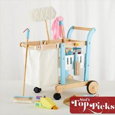 Cute, and better than playing with all the real dustmops.  Imaginary Toys: Kid's Pretend Cleaning Cart in Nod Exclusives
