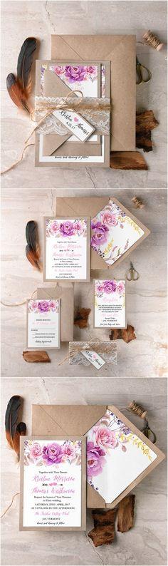 Rustic boho lace and kraft paper wedding invitation kits #rusticwedding…