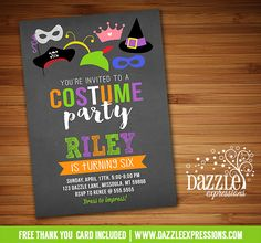 Printable Costume Party Chalkboard Birthday Invitation   Dress Up   Kids Halloween Party   Halloween Birthtday   FREE thank you card included   Printable Matching Party Package Decorations Available! Banner   Signs   Labels   Favor Tags   Water Bottle Labels and more! www.dazzleexpressions.com