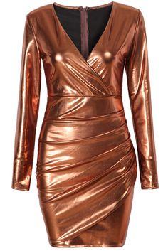 Gold V Neck With Zipper Bodycon Dress 34.00