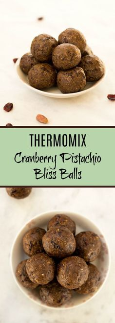 These Thermomix Cranberry and Pistachio Bliss Balls are made with dates, pistachios, dried cranberries, coconut oil and maple syrup. They are refined sugar free so make the perfect guilt free treat.