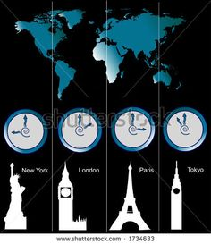 Image of a world map with clocks showing time of four cities (New York, London, Paris and Tokyo) and famous attractions in those cities - stock photo  For Mica's room