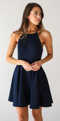 dress, navy, scalloped
