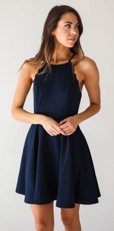 dress, navy, scalloped