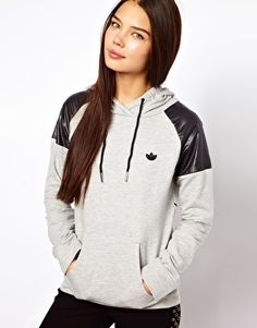Adidas Trefoil Hoodie With Faux Leather Shoulders?  UM, YES. asos.