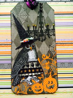 Artist: Valerie Lightbody Halloween Tag Swap 2014 using Character Construction stamps. A fun Halloween tag.