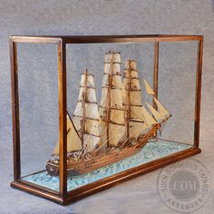 Antique Ship Model Display Tea Clipper Boat In Glass Case Vintage Classic C1900