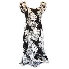 Waikiki Black Hawaiian Meaaloha Muumuu Dress with Sleeves