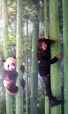 Panda Moment at Trick Eye Museum, Hongdae, Seoul City! ~.~