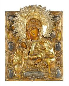 BANISH MY SORROWS By Russian School, Century - Medium: Painted, in repoussé, chased and engraved silver-gilt oklad Religious Images, Religious Icons, Religious Art, Virgin Mary Painting, Russian Icons, Blessed Mother Mary, Madonna And Child, Orthodox Icons, 18th Century