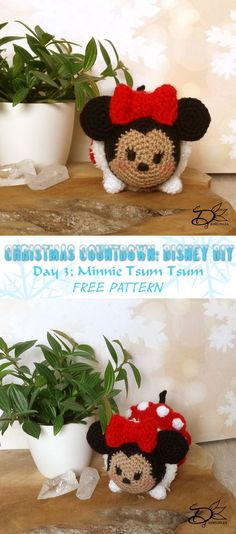 Minnie tsum tsum in Christmas Outfit! Free pattern