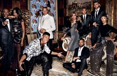 Lee Daniels, Naomi Campbell, Bryshere Y. Gray, Terrance Howard, Taraji P. Henson, Jussie Smollett, Trai Byers, The Weeknd, and Jourdan Dunn for Vogue Magazine September 2015 photographed by Mario Testino
