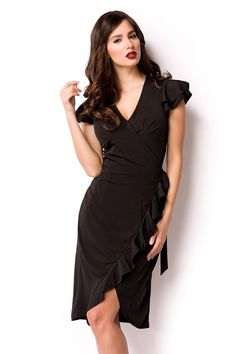 Well Dressed, Sexy Outfits, Formal Dresses, Jersey, Clothes, Black, Fashion, Elegant, Wrap Dress